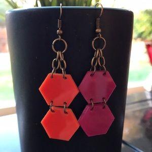 Jewelry - Hexagon shaped acrylic drop earrings